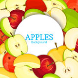 Round white frame on color apples background. Vector card illustration. Delicious fresh apple whole, peeled, piece of Stock Image