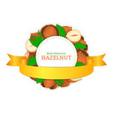 Round white frame composed of hazel nut and gold ribbon. Vector card illustration of filbert nut Stock Photo