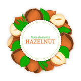 Round white frame composed of hazel nut. Vector card illustration of filbert nut. Stock Photos