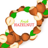 Round white frame on hazelnut nut diagonal composition background. Vector card illustration. Stock Image