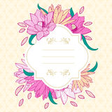 Round white frame with pink lotus and lily flowers. Royalty Free Stock Image