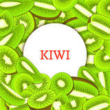 Round white frame on ripe kiwi background. Vector card illustration. Delicious fresh and juicy kiwifruit peeled piece of. Half slice seed appetizing looking for Stock Photos