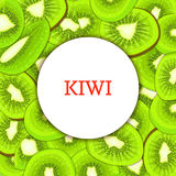 Round white frame on ripe kiwi background. Vector card illustration. Delicious fresh and juicy kiwifruit peeled piece of half slice seed appetizing looking for Royalty Free Stock Photography