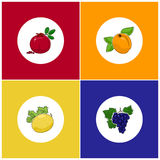 Round White Fruit Icons on Colorful Background Royalty Free Stock Photos