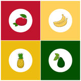 Round White Fruit Icons on Colorful Background Stock Photos