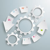 Round White Gear Machine Cycle 6 Options Stock Photography