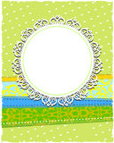 Round white ornamental frame with dots Stock Photo