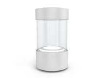 Round white Showcases with a pedestal with lighting inside Stock Photography