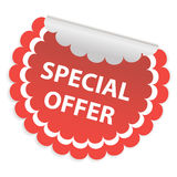 Round white sticker for special offer. A special offer sign. Stock Photos