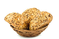 Round wholemeal bread. Stock Photos