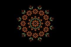 Round wianek z Burgundy kwitnie z trzonami i liśćmi z falistą koralik ramą na czarnym tle royalty ilustracja