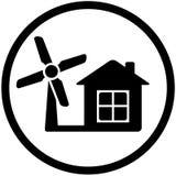 Round wiatrowego młynu ikona dla domowej alternatywnej władzy Zdjęcie Royalty Free