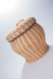 Round wicker basket with cover Stock Photo