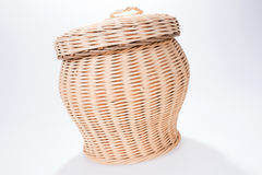 Round wicker basket with cover Stock Images