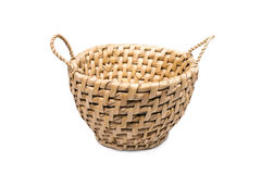 Round wicker basket with a white background. Royalty Free Stock Photo