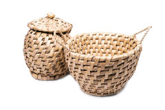 Round wicker basket with a white background. Royalty Free Stock Image