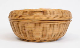 Round wicker basket Royalty Free Stock Photos