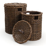 Round wicker baskets Stock Photography