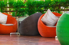 Round wicker Table sets. Royalty Free Stock Photography
