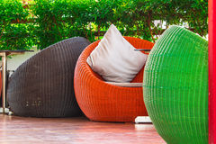 Round wicker Table sets. Royalty Free Stock Photo