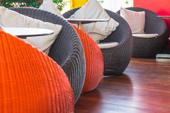 Round wicker Table sets. Stock Photo