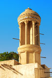 Round wind tower. Old round windtower in sharjah. one and only in this regian Royalty Free Stock Images