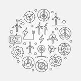 Round with wind turbine. Round illustration made with wind turbine icons. Vector eco wind energy round symbol in thin line style Stock Photo