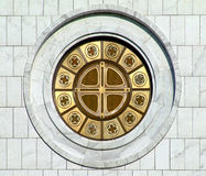 Round window. Gold round window royalty free stock images