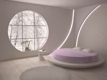 Round window and the bed Royalty Free Stock Image