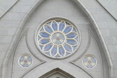Round Window In Gothic Style The Wall Of Church Stock Photo