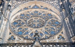 Round window mosaic  of St. Vitus Cathedral in Prague Stock Photos