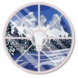 The round window overlooking the snow-covered mountain slope and coniferous forest in winter isolated on white. Background. Interior design luxury country house vector illustration
