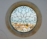 Round windows with harbor view in lissabon Royalty Free Stock Images