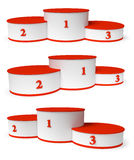 Round winners podium with empty red places set Royalty Free Stock Images