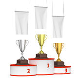 Round winners podium with trophy cups and blank white flags, lef Stock Photos