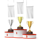 Round winners podium with trophy cups and blank white flags righ. Sports winning, competition and championship success concept - three winners trophy cups on Stock Images