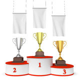 Round winners podium with trophy cups and blank white flags. Sports winning, championship and competition success concept - three winners trophy cups on round Royalty Free Stock Photo