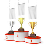 Round winners podium, trophy cups and blank white flags. Sports winning, championship and competition success concept - three winners trophy cups on round sports Stock Images