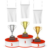 Round winners podium with trophy cups and white flags. Sports winning, competition and championship  success concept - three winners trophy cups on round sports Royalty Free Stock Photos
