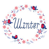 Round Winter Birds Frame Royalty Free Stock Images