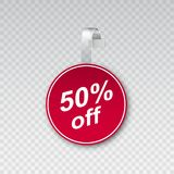 Round wobbler with tag 50 percent off. Vector illustration Royalty Free Stock Image