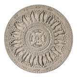 Round Wood Carving. An ornate decorative round Eastern wood carving. A centerpiece medallion section of a restaurant wood door carving Stock Images