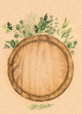 Round wood cutting board and fresh herbs on kraft paper. Watercolor hand-painted  illustration Royalty Free Stock Images