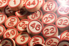 Round wooden bingo numbers background texture Royalty Free Stock Images