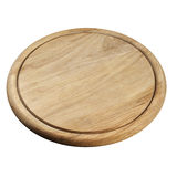 Round wooden breadboard isolated Stock Image