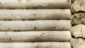 Round wooden logs of house wall image Royalty Free Stock Images