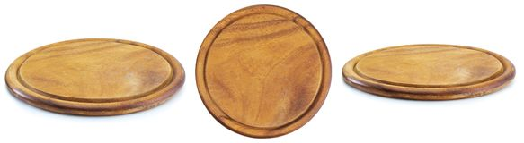 Round wooden plate with three views. royalty free stock photography