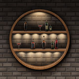 Round wooden shelves Royalty Free Stock Photo