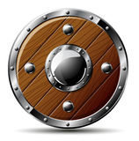 Round wooden shield - isolated on Royalty Free Stock Photos