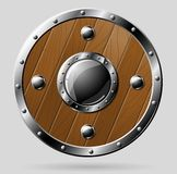 Round wooden shield  on white Royalty Free Stock Image